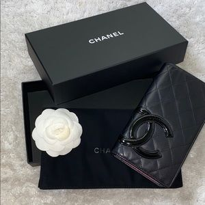 Chanel Cambon leather large CC logo Yen wallet